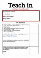 Teach In Arriving in the UK Checklist